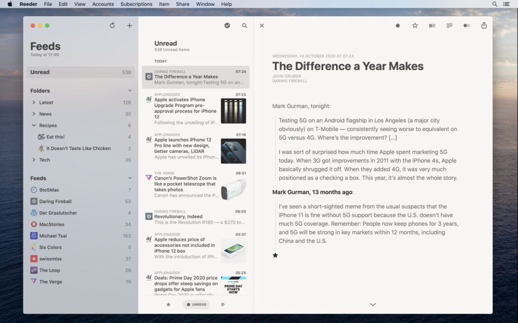 Reeder 5 for Mac / iOS - 苹果上最好用的 RSS 阅读器客户端